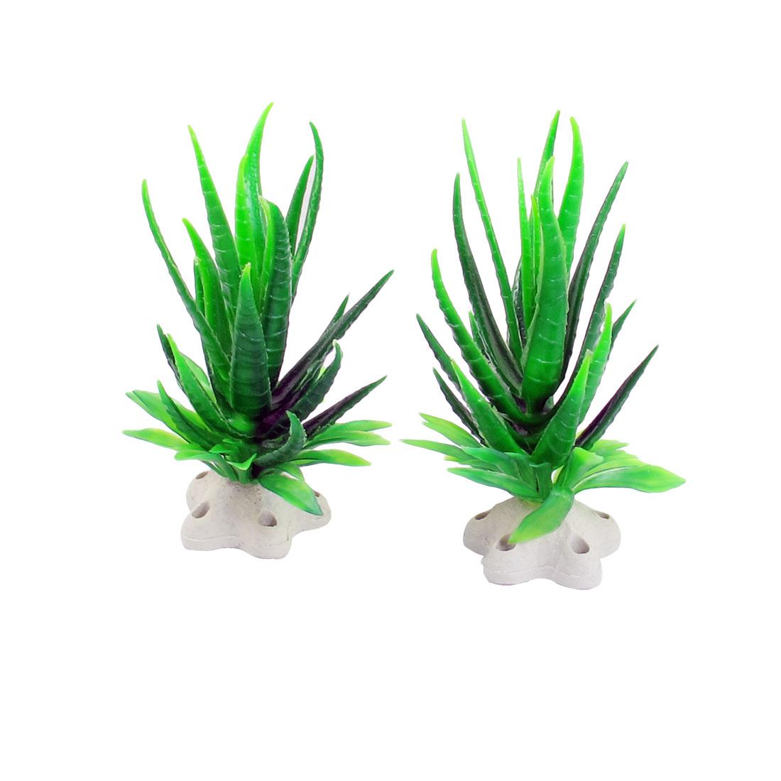 """2 Pcs 4.7"""" Hight Dark Green Plastic Aquatic Plants for Aquarium Fish Tank"""
