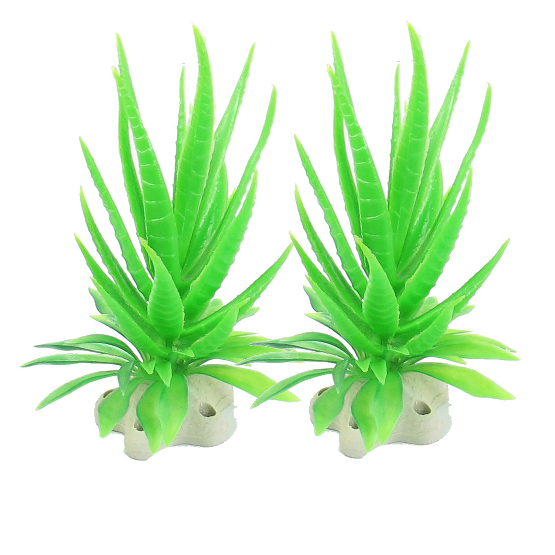 "2 Pcs 4.7"" Hight Green Plastic Aquatic Plants for Aquarium Fish Tank"