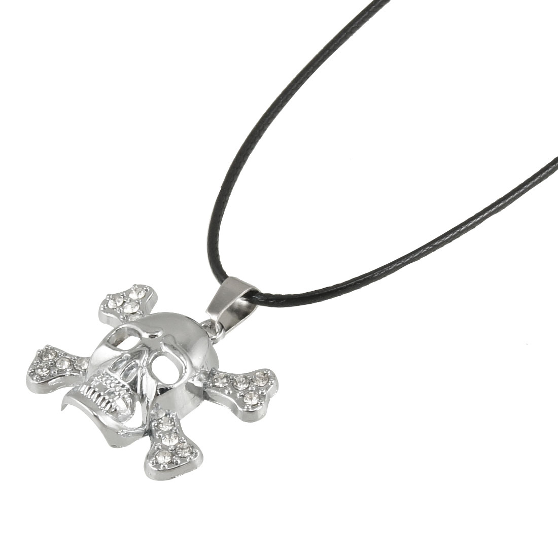 Rhinestone Decor Silver Tone Skull Crossbones Pendant Black Strap Necklace