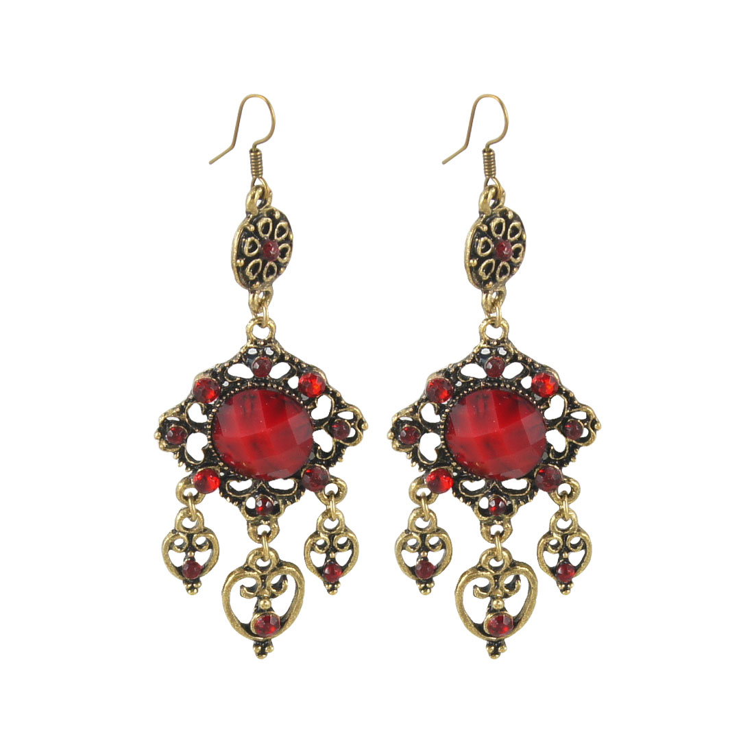 Red Plastic Beads Detailing Bronze Tone Rhombus Pendent Fish Hook Earrings