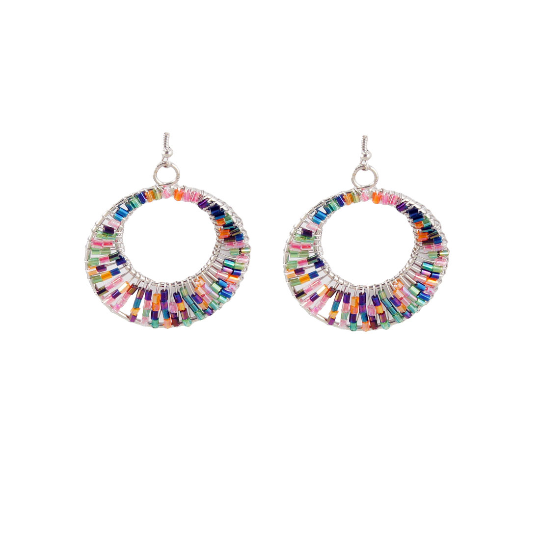Colorful Plastic Cylinder Beads Decor Circle Dangle Fish Hook Earrings