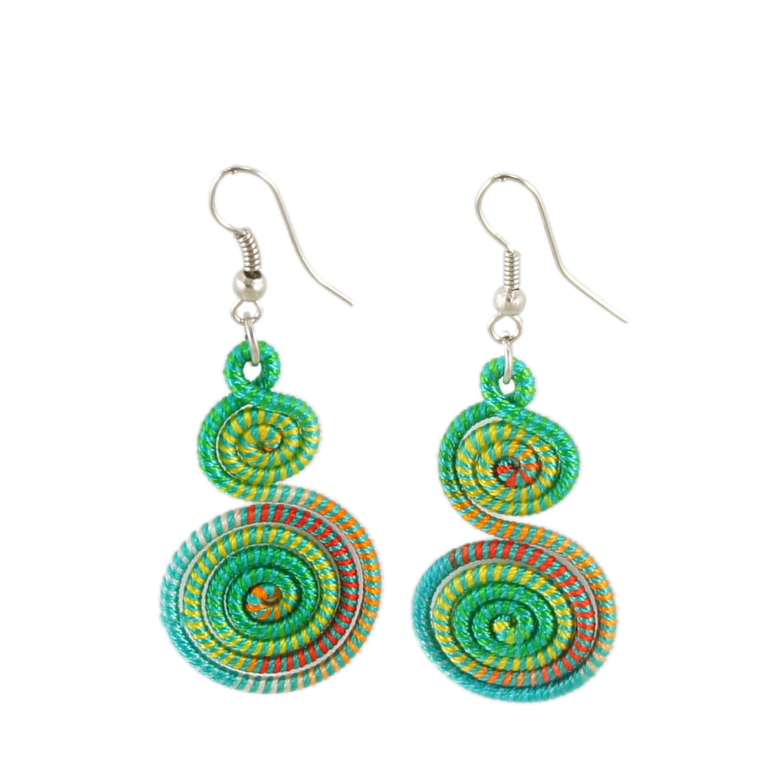 Pair Teal Blue Colorful Nylon Double Spiral Pendant Fish Hook Earrings