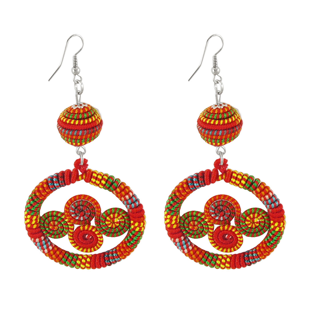 Pair Red Colorful Manual Nylon Cord Spiral Design Metal Fish Hook Earrings