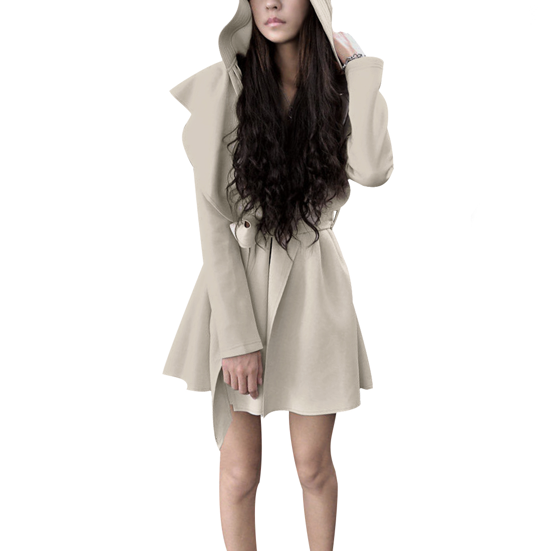 Ladies Open Front Long Sleeves Belted Hooded Trench Coat Apricot S