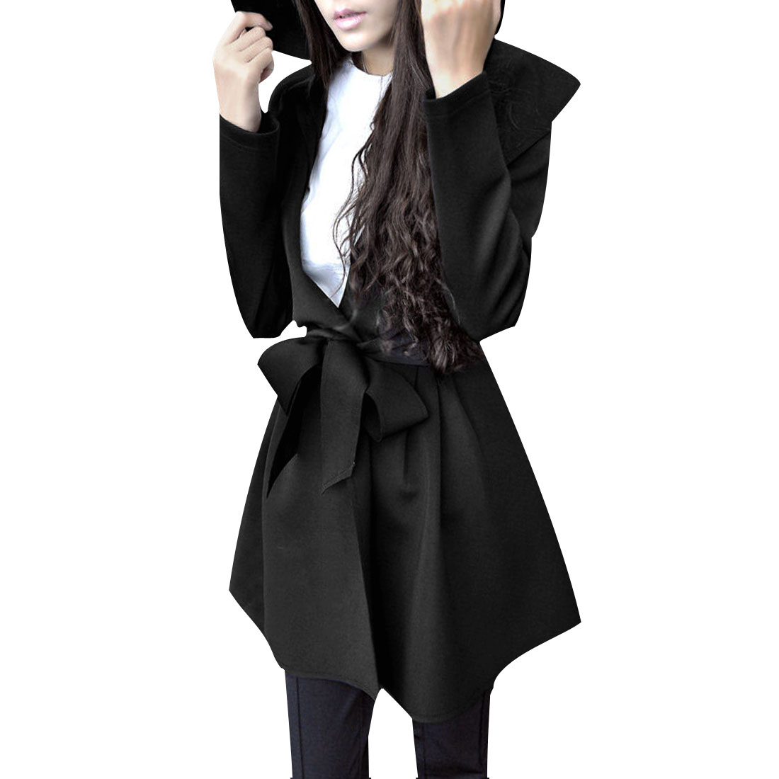 Ladies Open Front Long Sleeves Belted Hooded Trench Coat Black XS