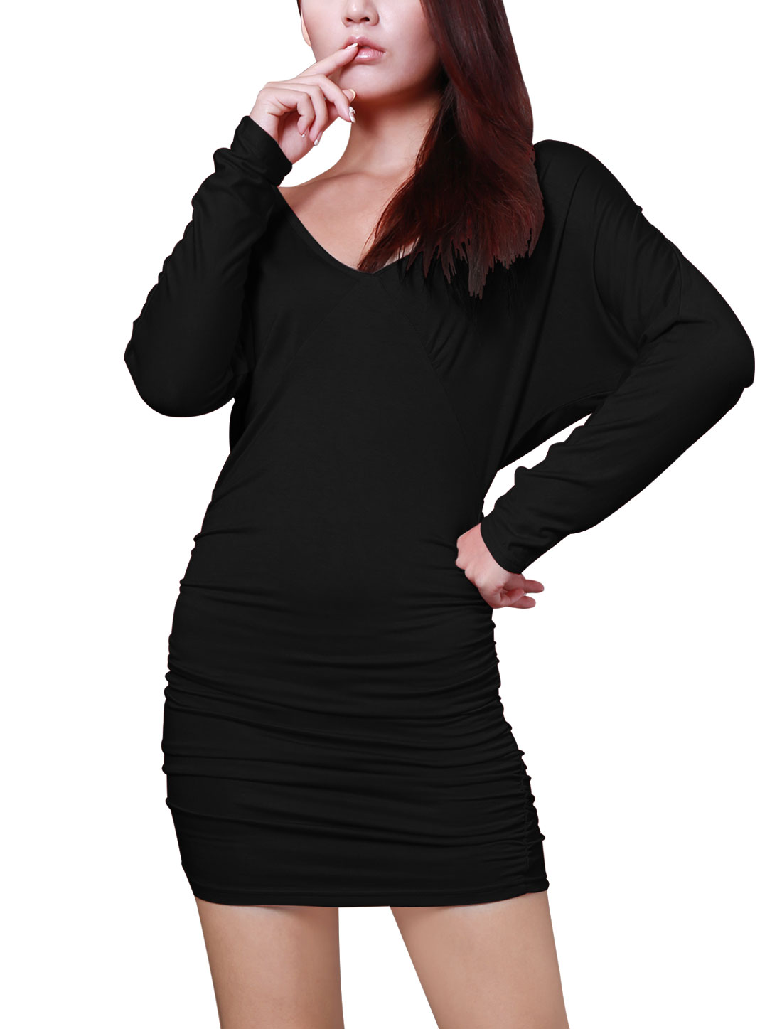 Ladies Long Sleeve Deep V Neck Straight Cutting Black Clubwear Dress XS