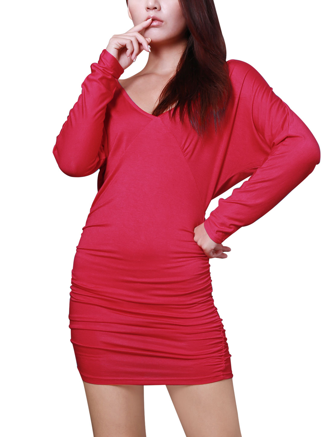 Deep V Neck Long Sleeve A-line Cutting Ruffled Red Clubwear Sexy Dress XS