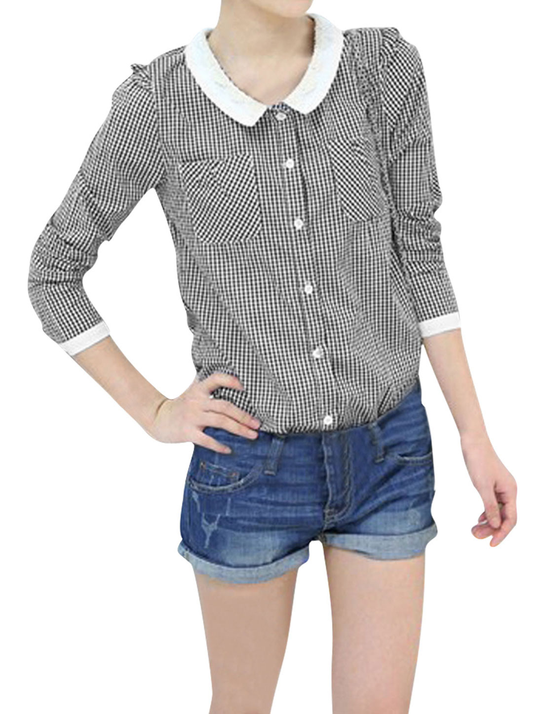 Ladies Doll Collar Long Sleeve Single Breasted Black Plaids Pattern Blouse XS
