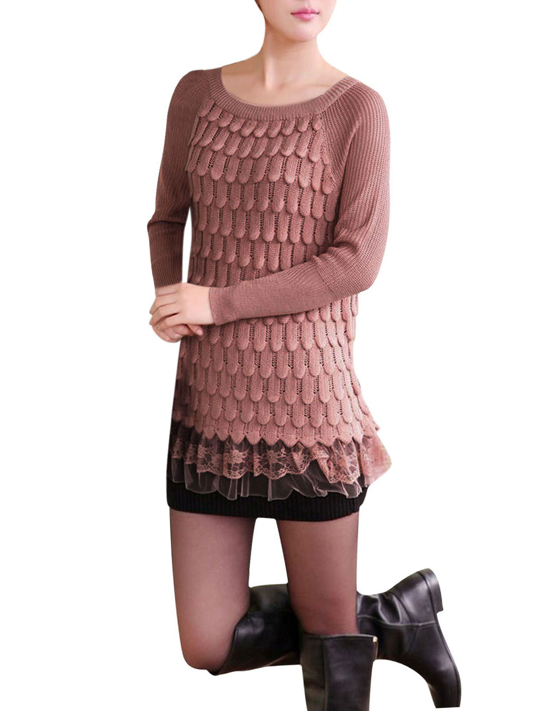 Ladies Dark Pink Crew Neck Lace Hem Panel Autumn Leisure Loose Sweater XS
