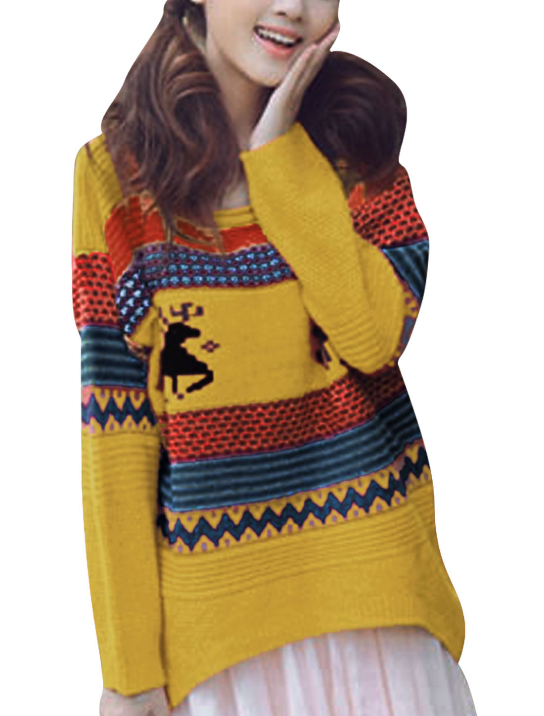 Ladies Irregular Hem Scoop Neck Stripes Deer Pattern Sweater Yellow S