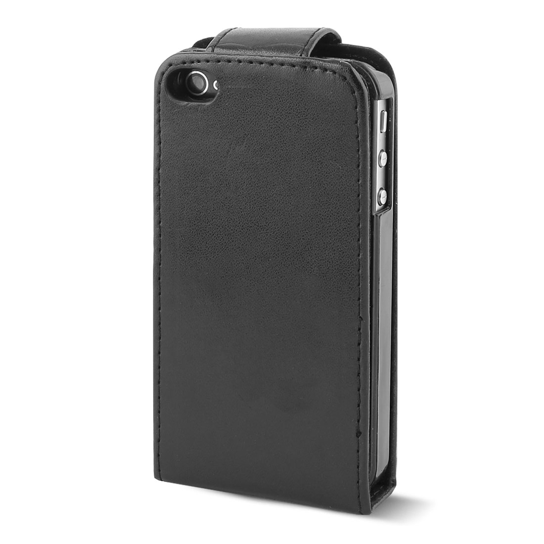 Rectangle Black Faux Leather Magnetic Case Pouch for iPhone 4G
