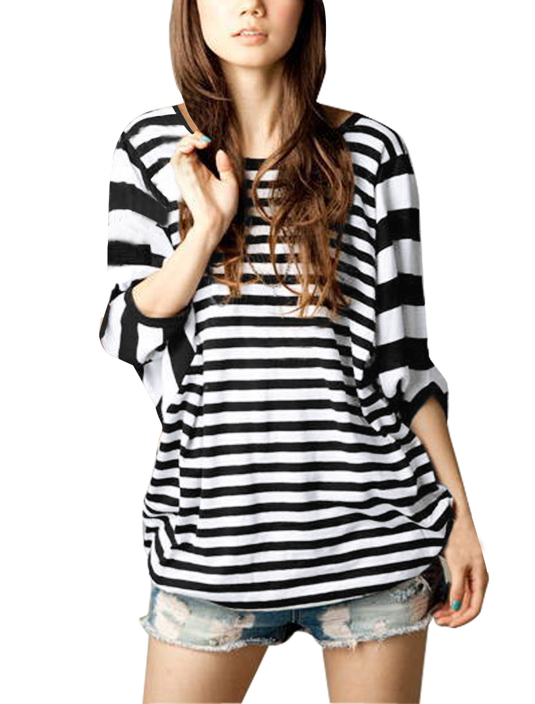 Women Black White Long Bat Wing Sleeve Loose Shirt L