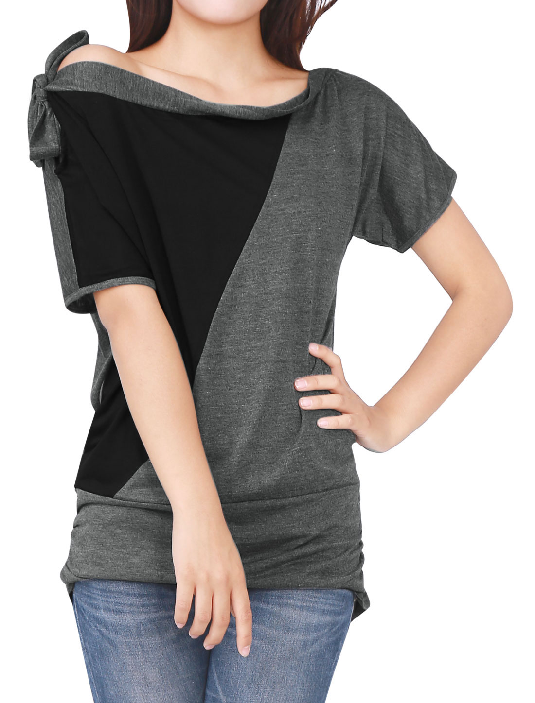 Women Black Gray Pullover Bat Sleeve Shirt Loose Top L