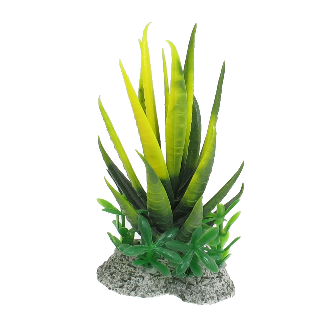 Green Yellow Plastic Decoration Ornament Aquarium Plant for Fish Tank 4.3""