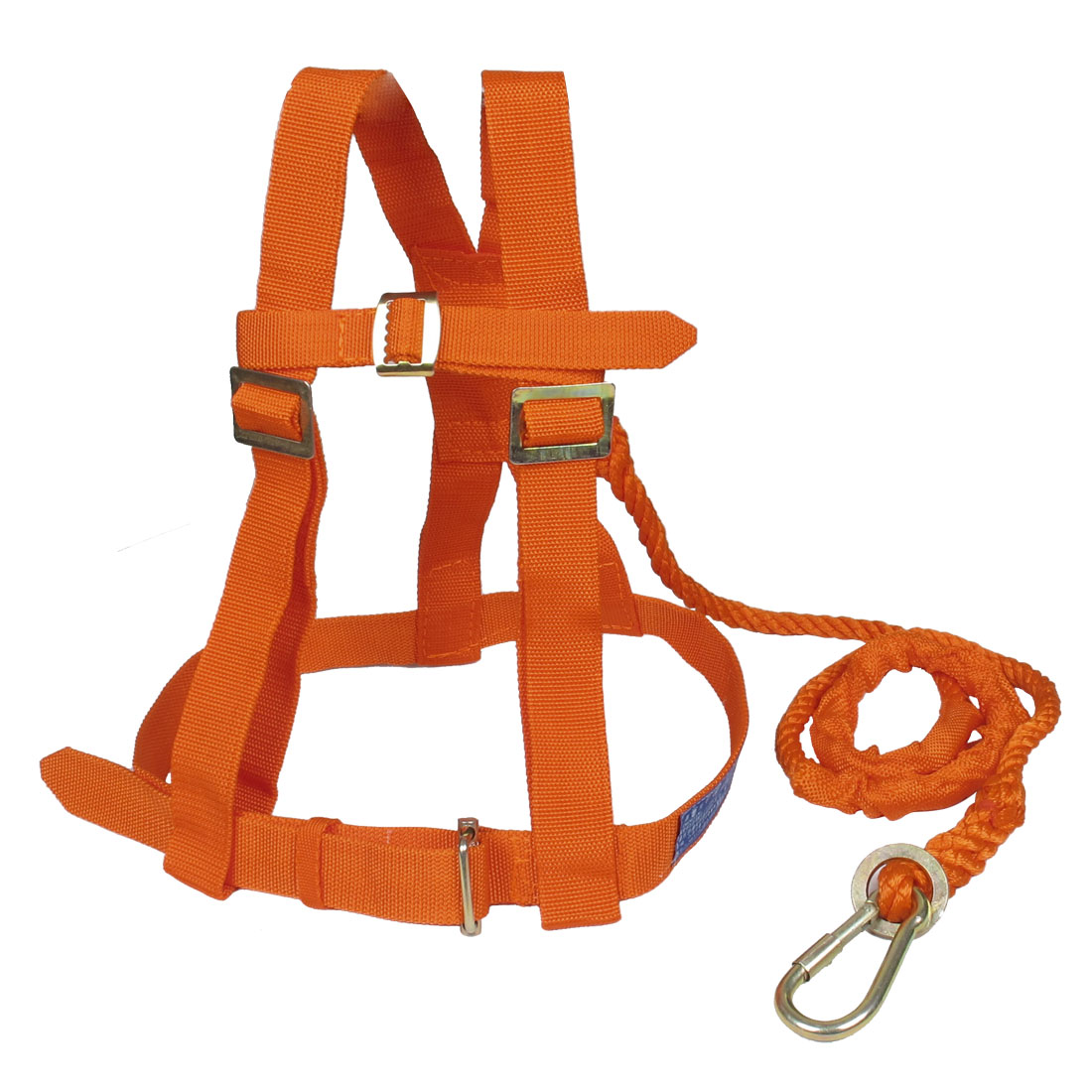 Climbing Nylon Cord Full Body Protection Safety Adjustable Harness Orange w Hook