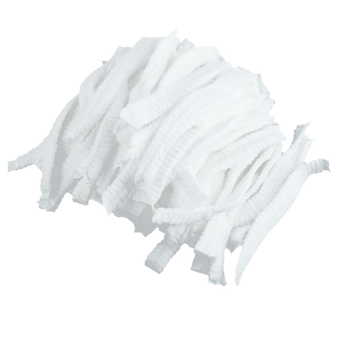 100 Pcs Elasticated White Pleated Anti Dust Disposable Mop Mob Cap