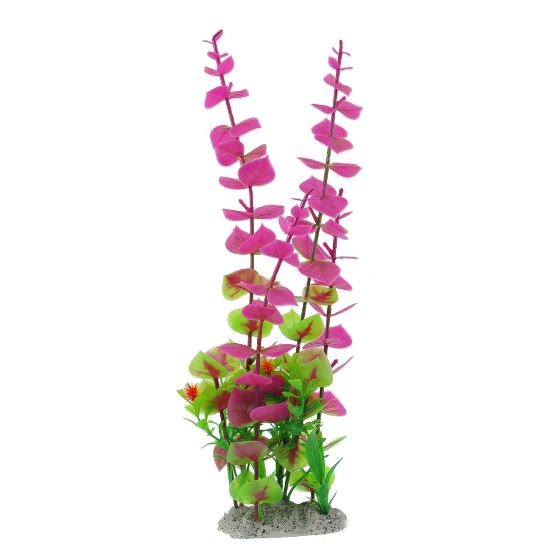"12.2"" Fuchsia Green Plastic Fish Tank Decoration Ornament Aquarium Plant"