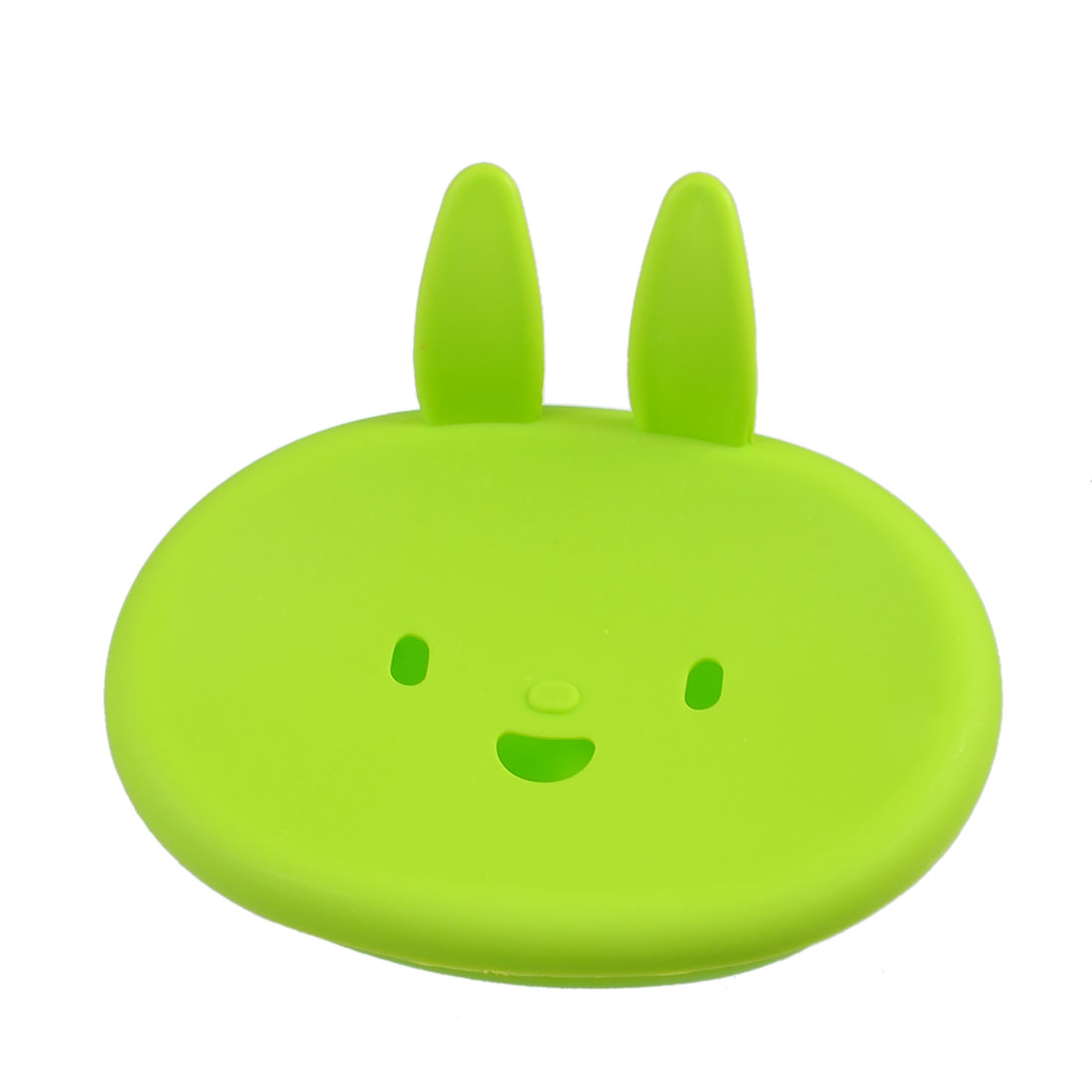 Hard Plastic Green Smiling Rabbit Design Soap Holder Box Plate