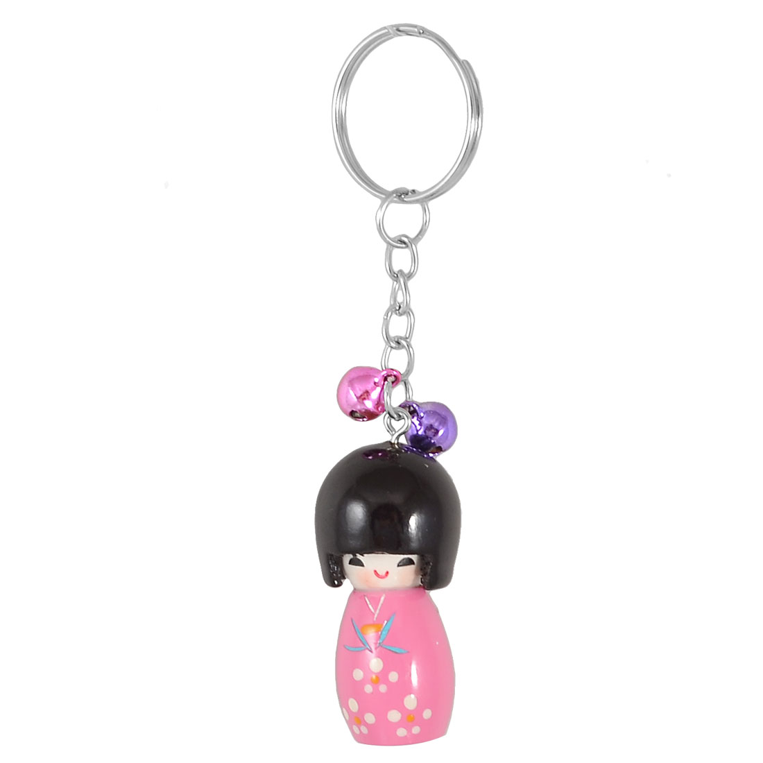 Pink Wood Japanese Doll Pendant Round Metal Ring Keychain Gift