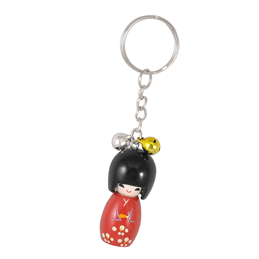 Red Black Wooden Japanese Doll Bells Pendant Round Keyring Chain