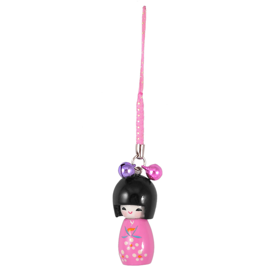 Pink Black Wooden Japanese Kokeshi Doll Pendant Mobile Phone Charm w String