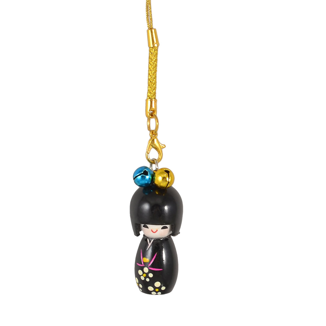Gold Tone String Black Japanese Kokeshi Doll Pendant Mobile Phone Charm