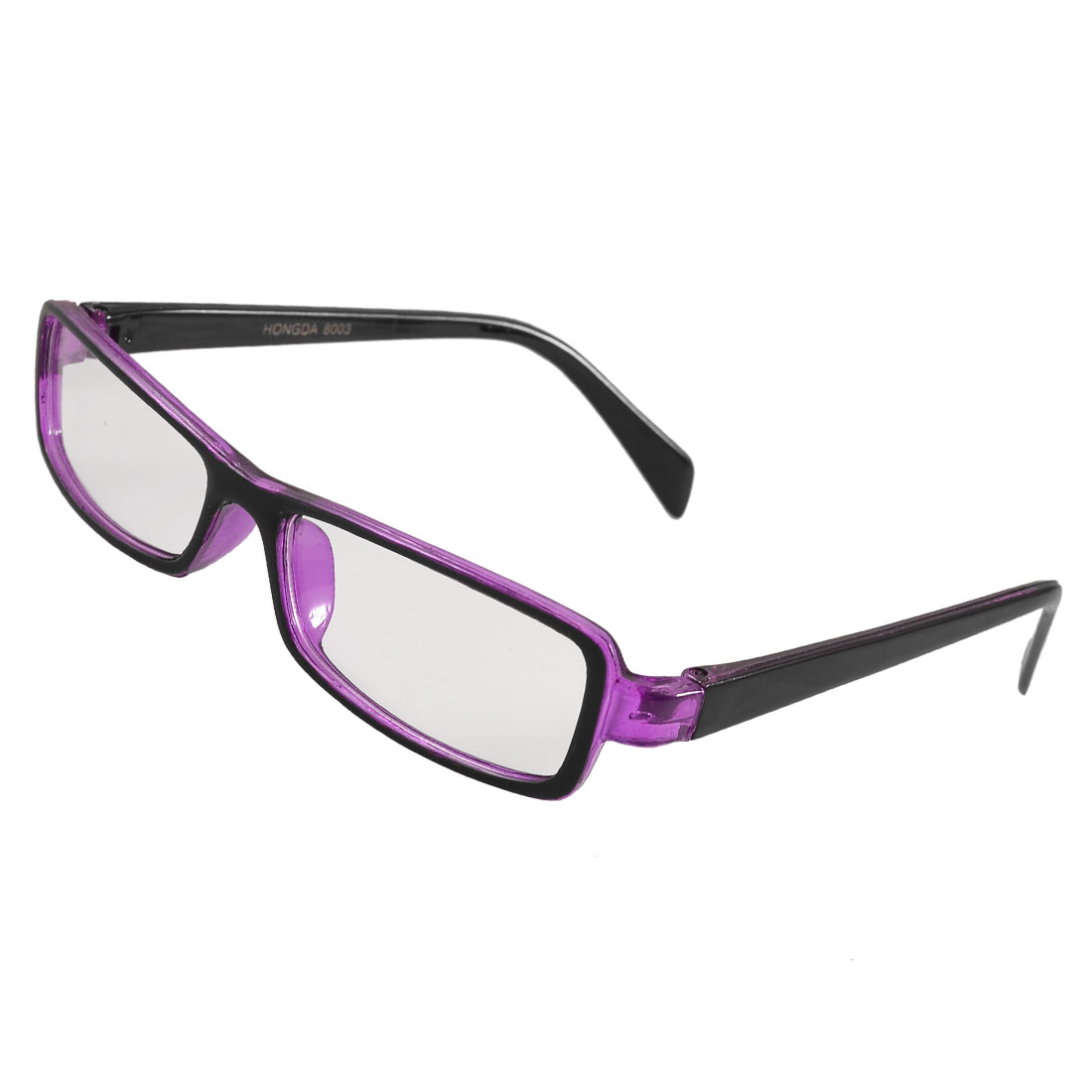 Ladies Black Clear Purple Plastic Full Frame Plano Glasses Eyeglasses