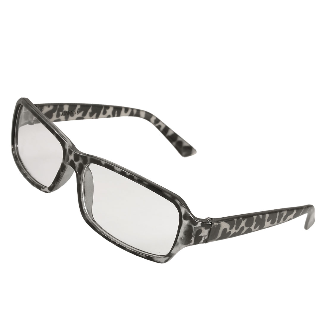 Woman Black Leopard Pattern Plastic Full Rim Clear Lens Spectacles