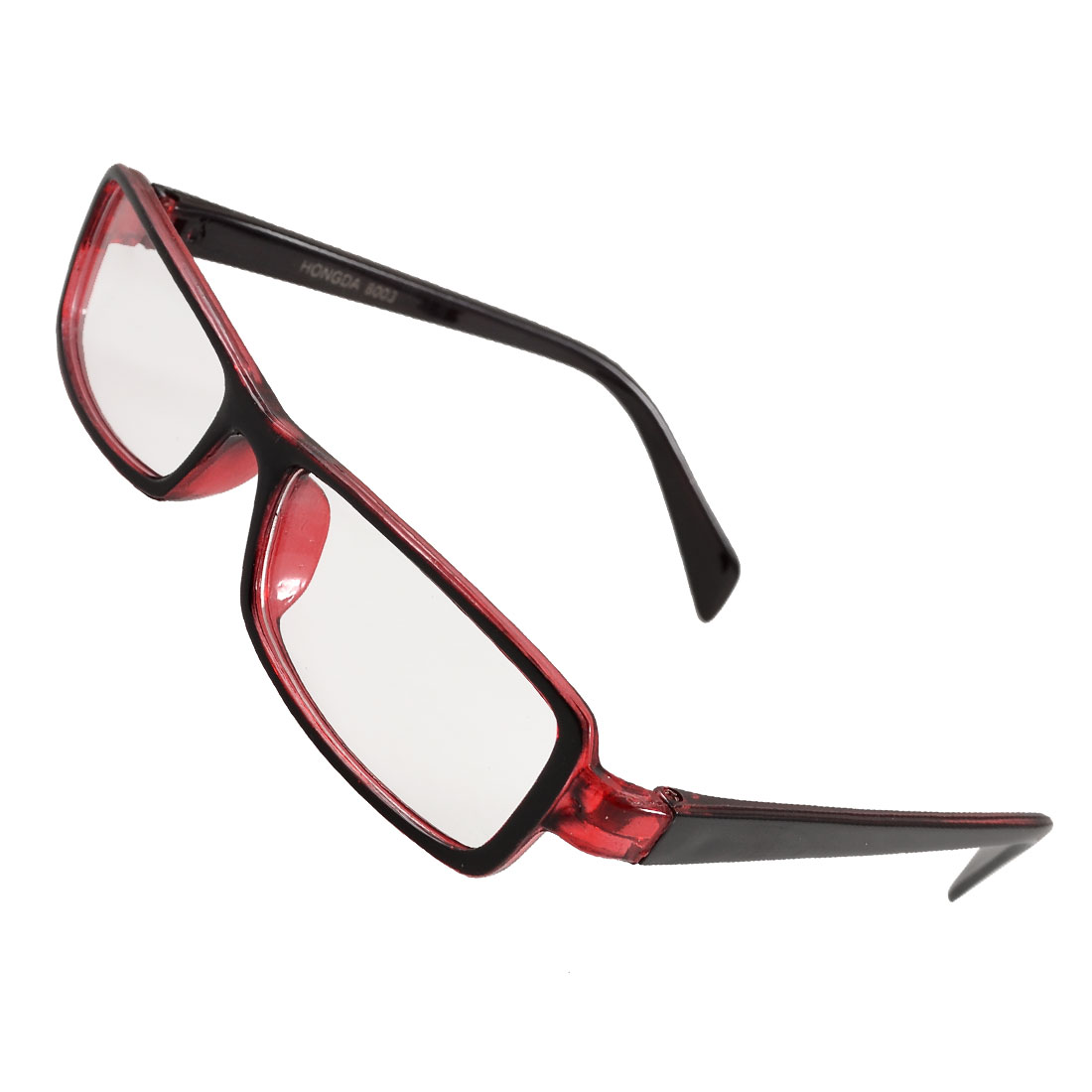 Woman Black Clear Red Plastic Full Rim Rectangle Lens Spectacles Eyewear
