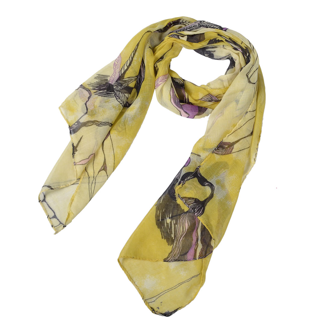1.6M Long Begonia Flowers Pattern Scarf Long Muffler Shawl Yellow