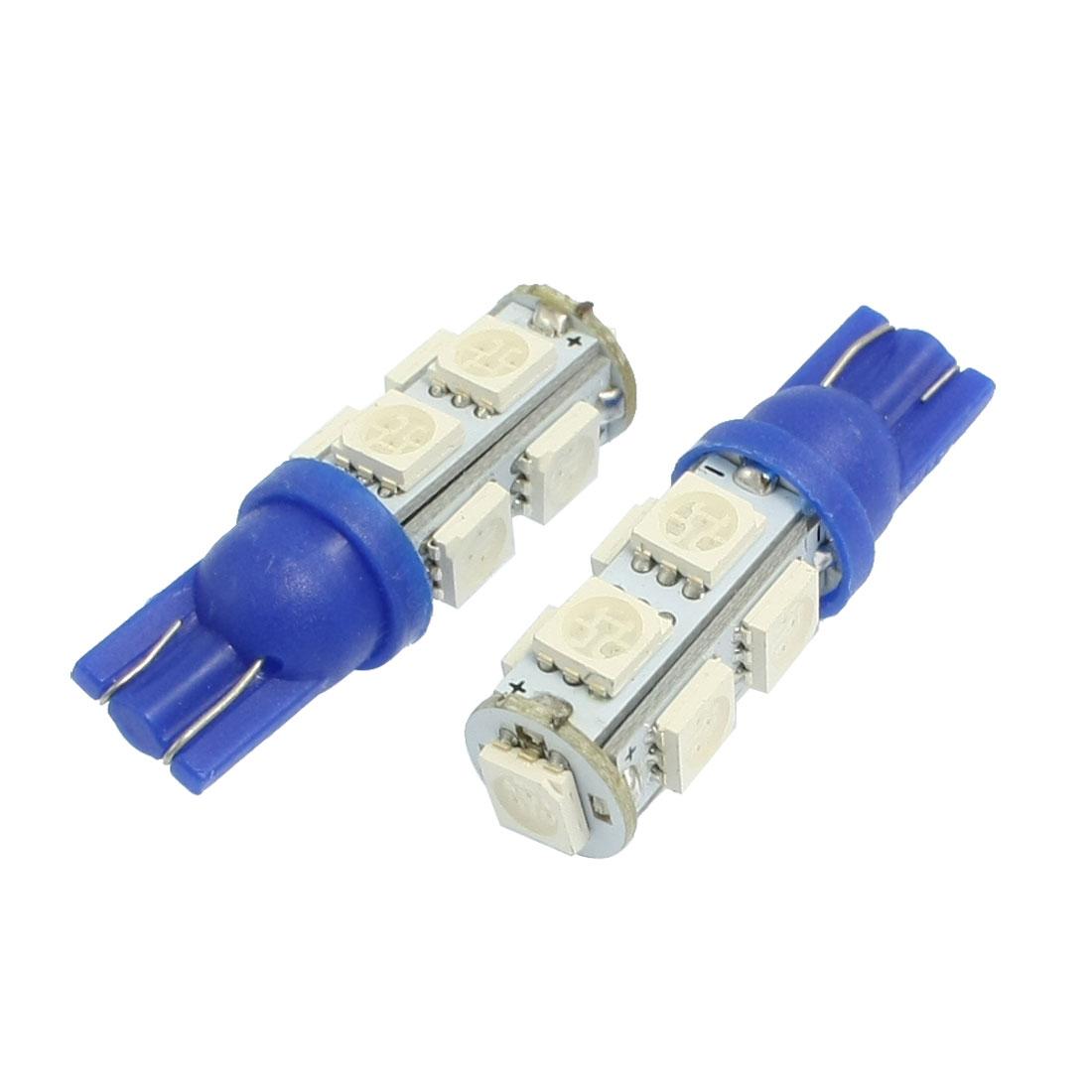2 Pcs W5W 194 168 501 T10 9-SMD Blue 5050 Chip LED Car Light Bulb
