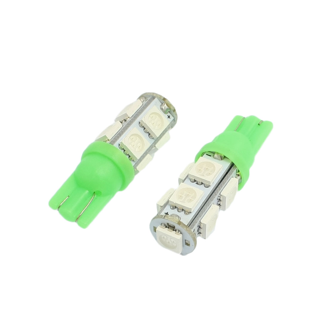 2 Pcs T10 9SMD 5050 SMD Bulbs Green 194 168 W5W LED Wedge Car Light