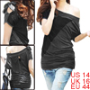 Women Black Gray Bat Sleeve Shirt Loose Top L