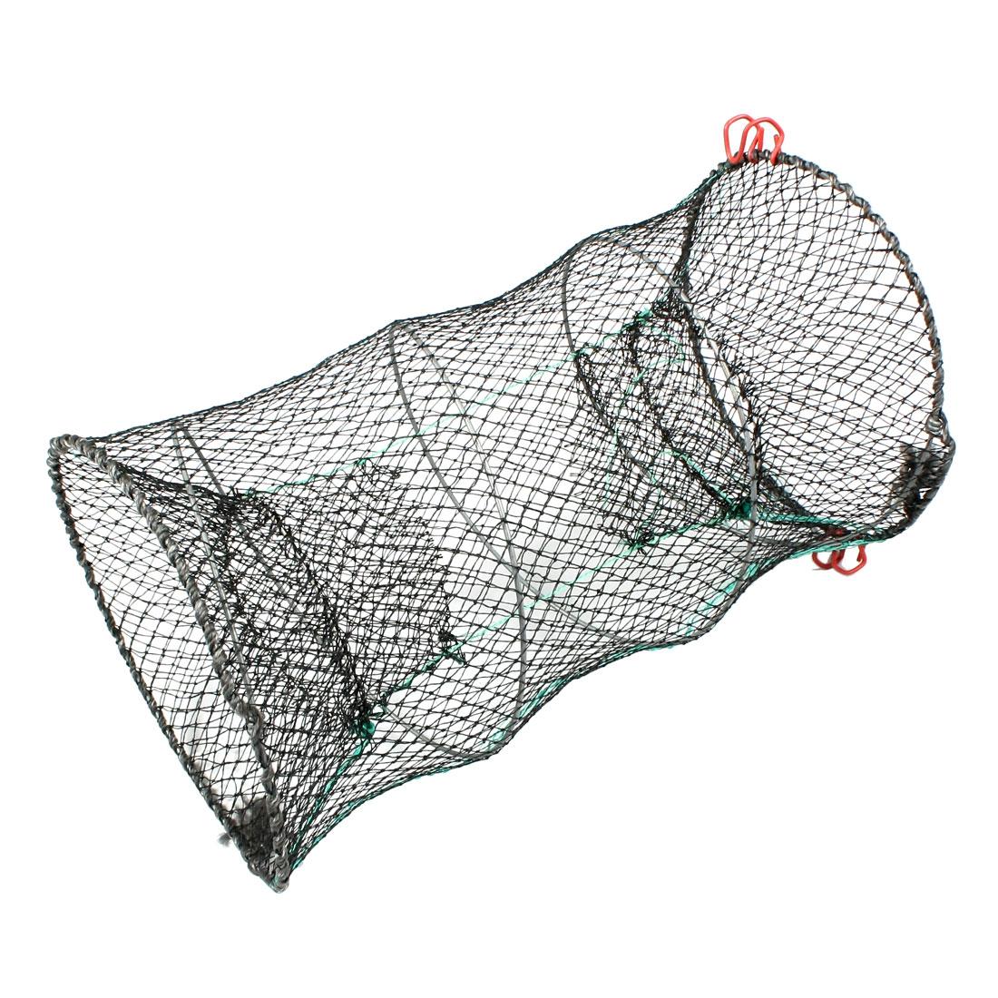 60cm x 29.5cm Black Mesh Cylinder Dual Entrance Fish Shrimp Crab Net