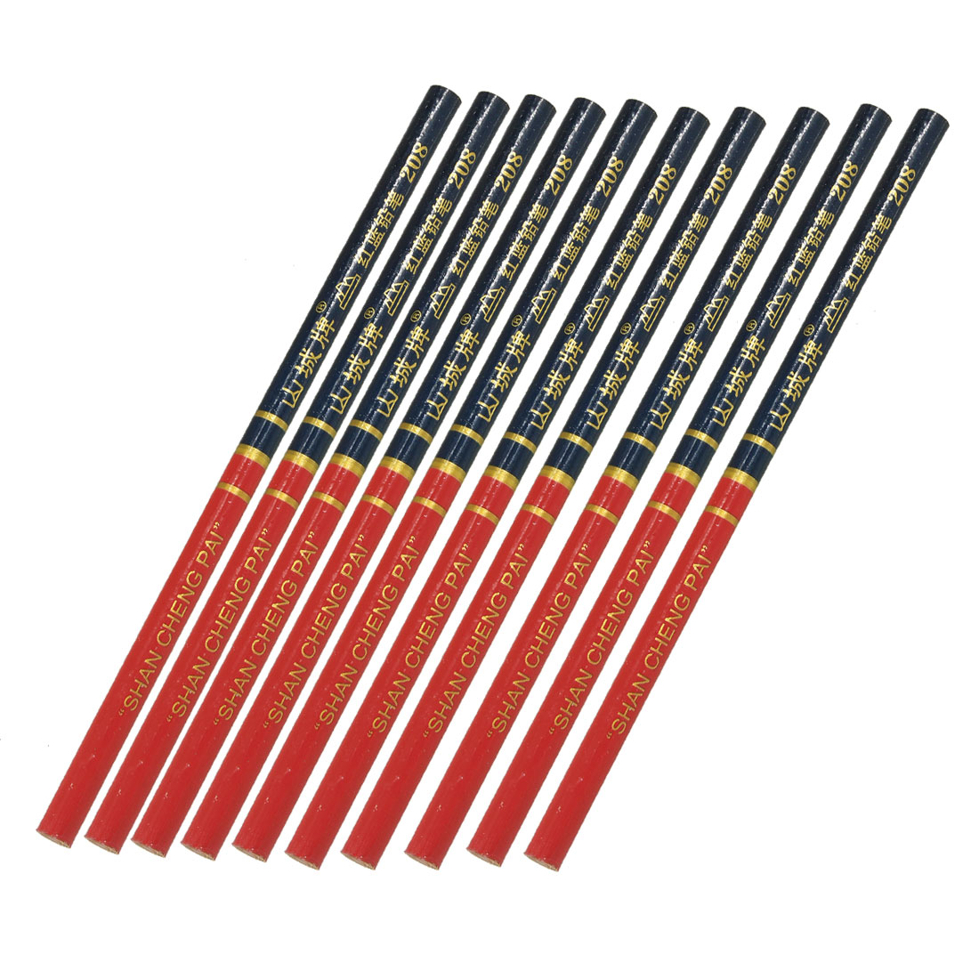 "10 Pcs Red Blue Lead Graphite 6.9"" Long Pencil for Carpenter"
