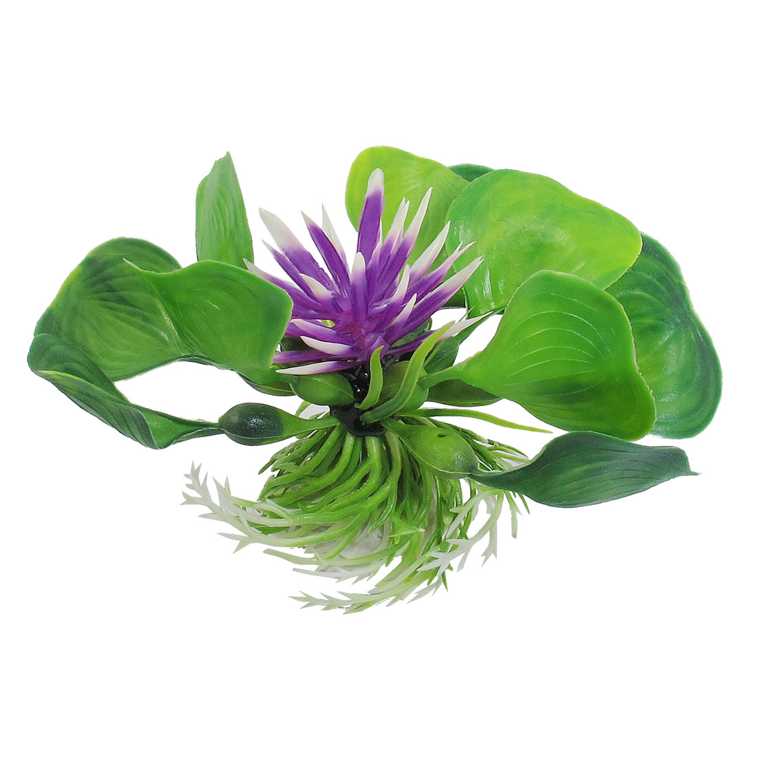 Plastic Purple Green Underwater Lotus Design Plant for Fish Tank