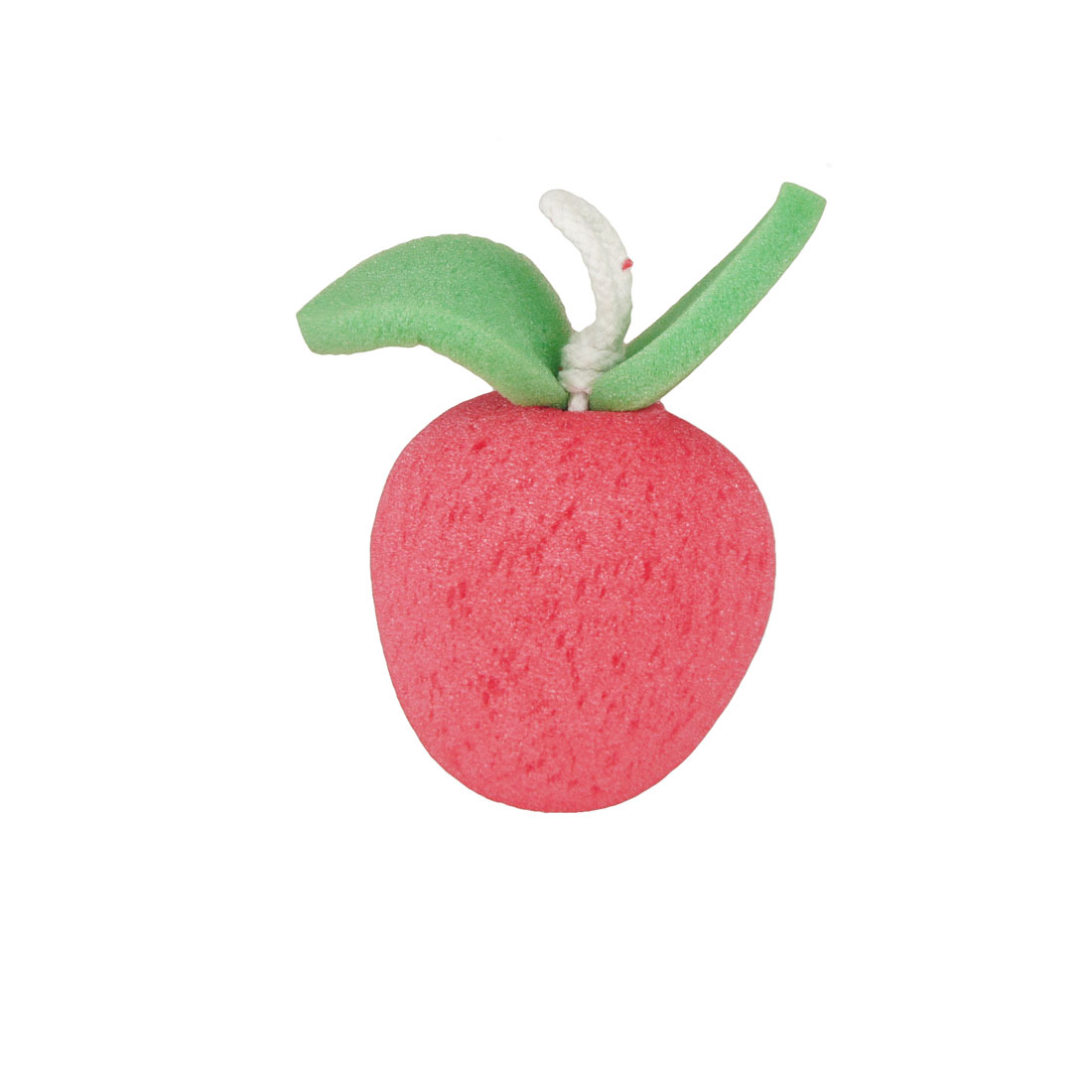 Red Apple Fruit Green Leaves Accent Body Massage Wash Cleaning Shower Sponge