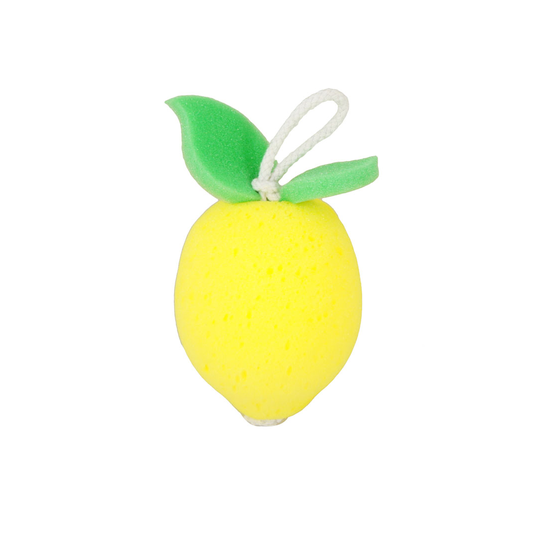 Yellow Pear Shape Green Leaves Accent Body Massage Washing Bath Sponge