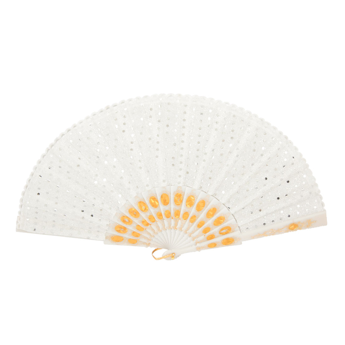 White Lace Fabric Glittery Round Sequins Decor Folding Hand Fan