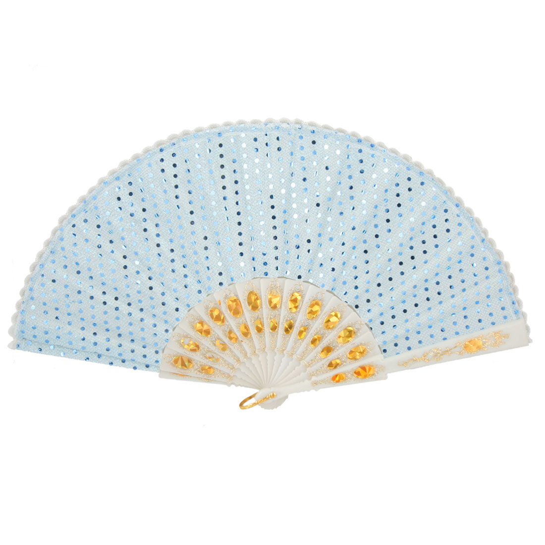 White Lace Plastic Frame Circle Paillette Decor Light Blue Foldable Hand Fan