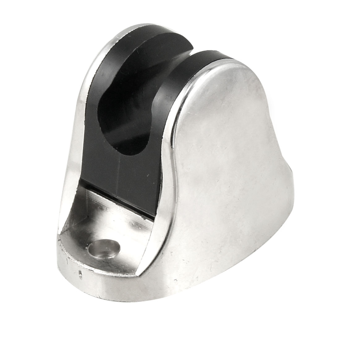 Silver Tone Black Plastic Bathroom Head Holder Bracket w 2 Screw Holes