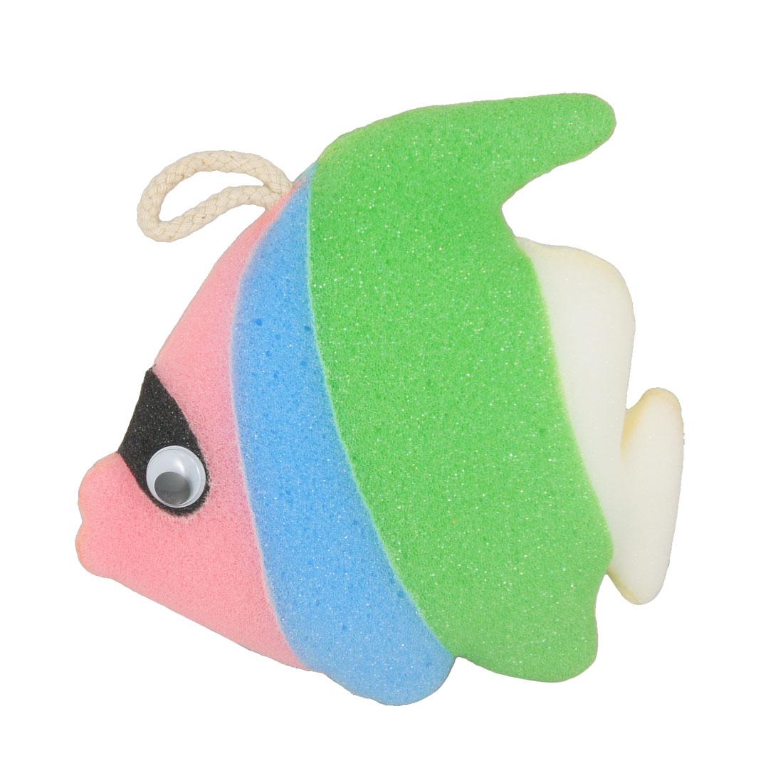 Blue Green Fish Design Bathing Shower Sponge Pouf Body Scrubber Loop