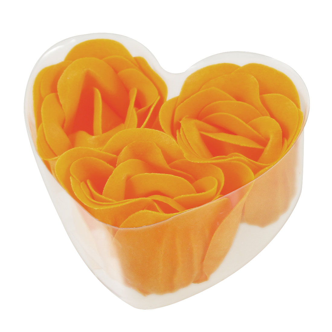 Orange Faux Fragrant Bathing Soap Rose Petals 3 Pcs w Heart Box
