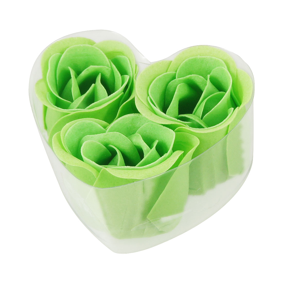 Green Faux Fragrant Bathing Bath Soap Rose Petals 3 Pcs w Heart Box
