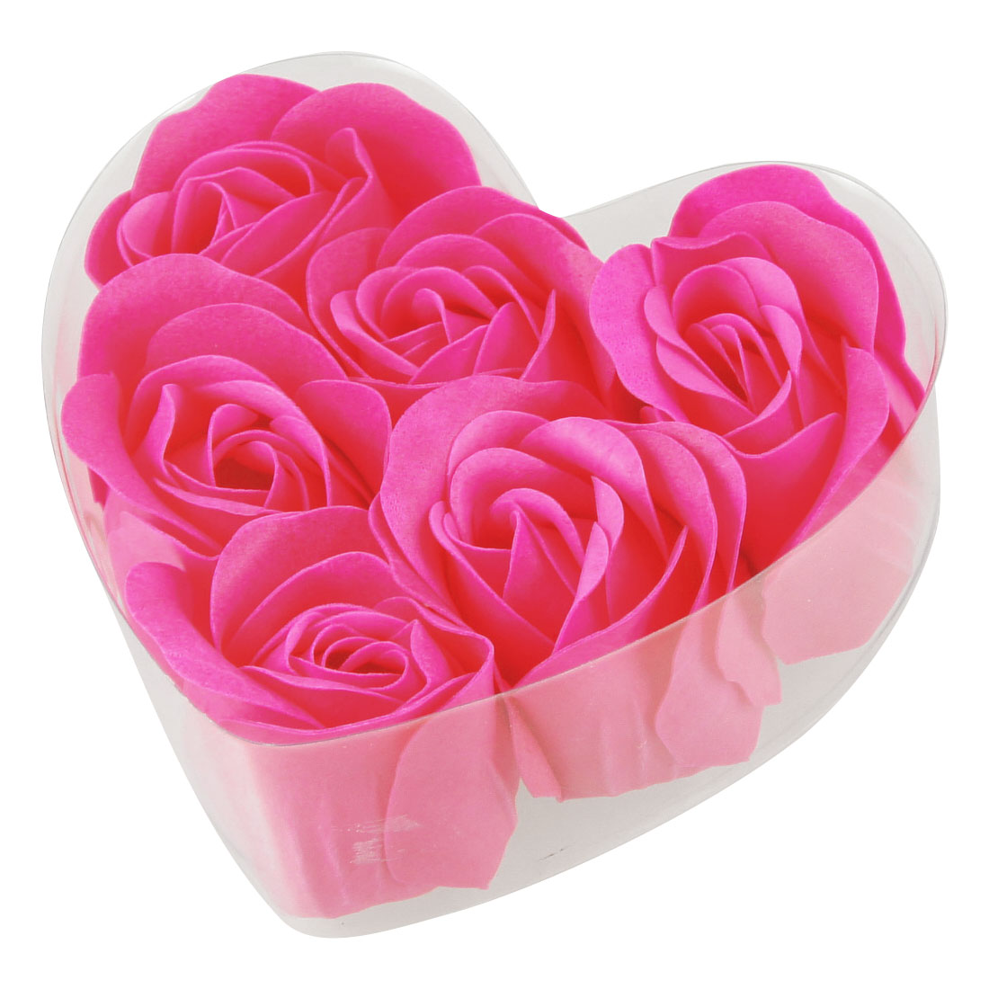 Pink Manmade Fragrant Bath Soap Rose Petals 6 Pieces w Heart Box