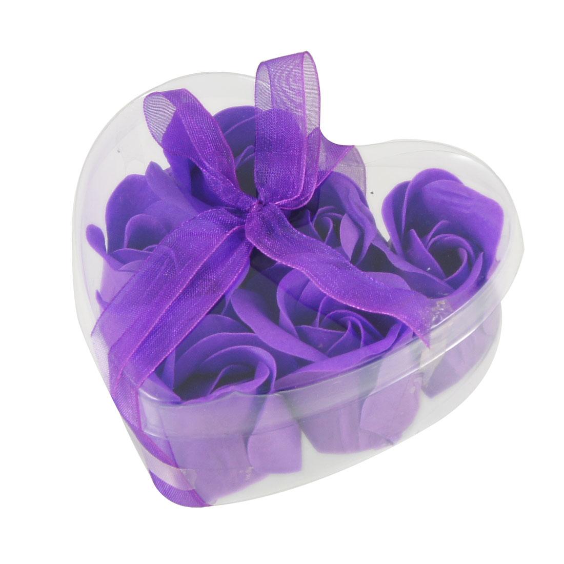 Purple Artificial Fragrant Bath Soap Rose Petals 6 Pcs w Heart Box