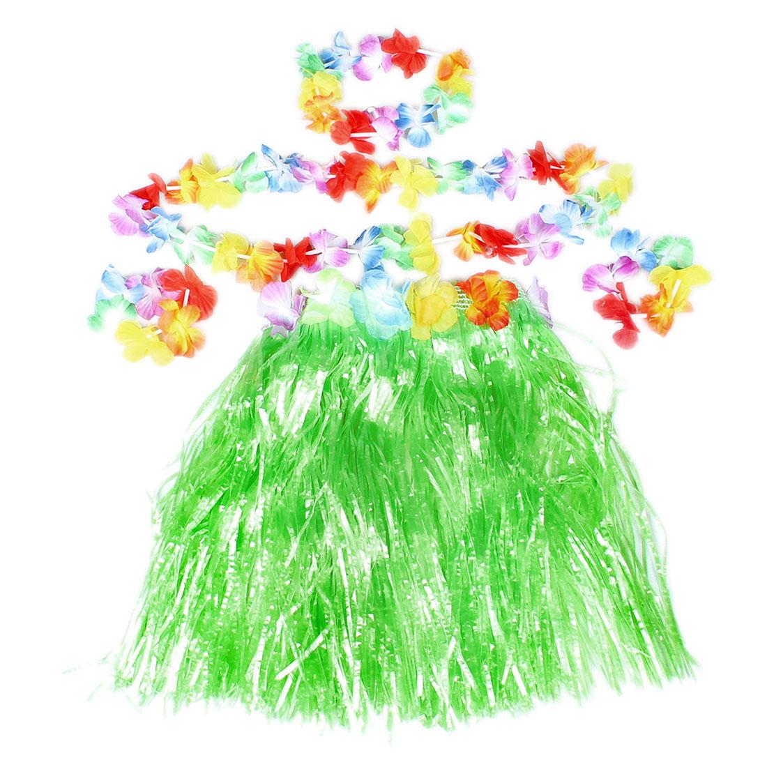 Colorful Flowers Decor Halloween Hawaiian Hula Grass Skirt Green for