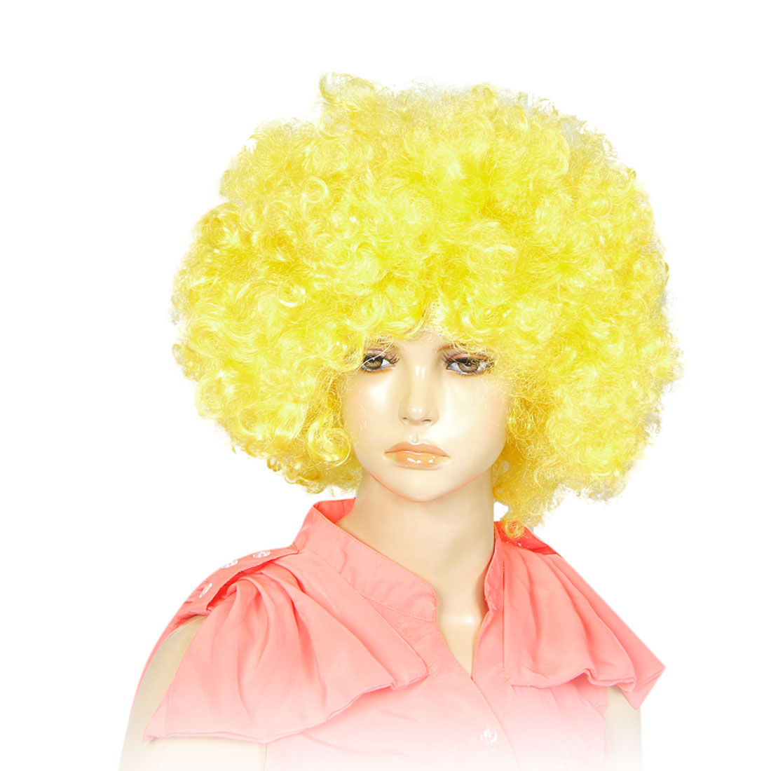 Ladies Manmade Funny Hairstyle Hair Dressing Curl Up Party Wig Yellow