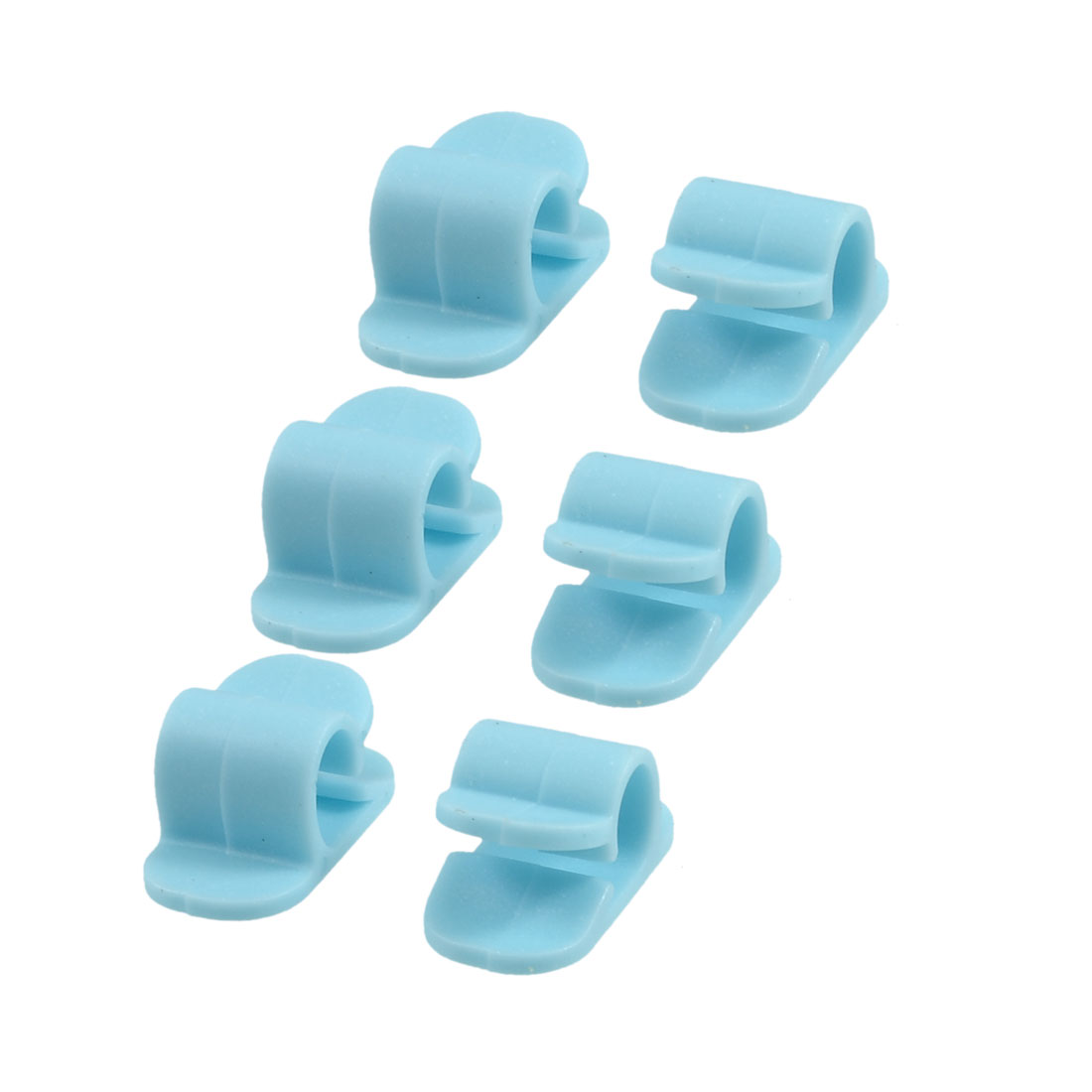 6 Pcs Blue Plastic Cord Wire Cable Clips Organizers