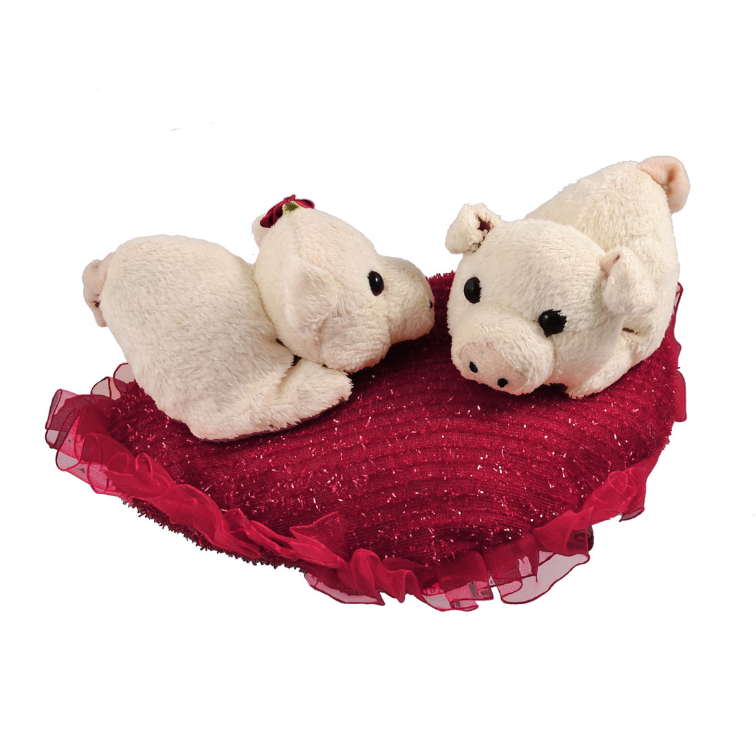 Children White Soft Plush Double Cartoon Pigs on Red Heart Shape Toy